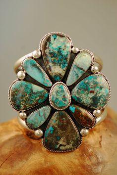 Bisbee Turquoise Cluster Bracelet-Native American