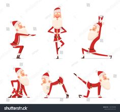 Illustration of Santa yoga poses. Christmas winter holiday sport healthy character standing in various relax poses vector cute mascot isolated. Illustration of santa claus yoga vector art, clipart and stock vectors.