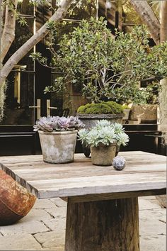 At Home with Scott Shrader: Photo Gallery Scott Shrader West Hollywood, CA // Outdoor table made from leftover scaffolding
