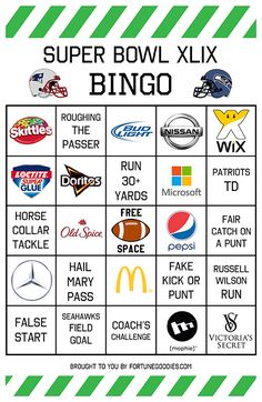 Bowl Party Games: Super Bowl Bingo | Bingo, Bingo Cards and Super Bowl ...