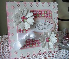 I am still playing around with this new Martha Stewart Eyelet Lace Punch around the page punch. I thought I would make a stash of pretty pink birthday cards with it. Here's another one where…