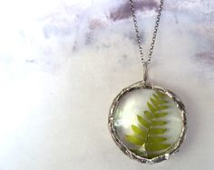 Faeries of the Fern Glass Pendant Necklace Sterling Silver Chain Round  Medium Glass Lens natural history. $95.00, via Etsy.