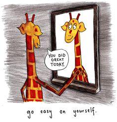 Giraffe in mirror - You did great today Giraffe Quotes, Giraffe Art, Elephant, Animal Quotes, Beautiful Creatures, Animals Beautiful, Animals And Pets, Cute Animals, Giraffe Pictures