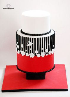 Black, Red and White Cake with pearls, flowers & bird