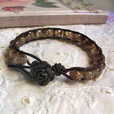 Leather Wrap Bracelet Boho Hippie Chic Rustic Rose by GlowCreek, $35.00