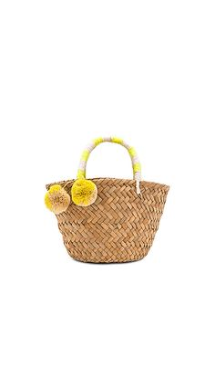 ce5fe0b27f KAYU Mini St. Tropez Tote in Yellow & White Straw Tote, Cute Handbags,