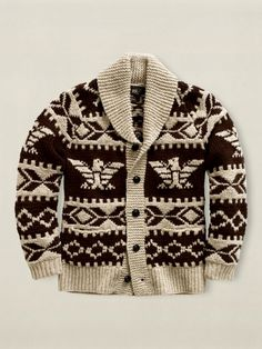 Ralph Lauren Shawl Sweater - Shawl Collar Sweaters for Men - Esquire Cowichan Sweater, Shawl Collar Sweater, Men Sweater, Wool Cardigan, Sweater Making, Knit Shirt, Mode Style, Ladies Dress Design, Look Cool