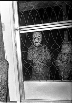 Vintage photo of Halloween trick or treaters in spooky plastic masks