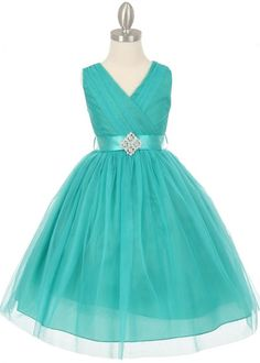 Jade Pleated V Neck Tulle Girl Dress with Detachable Sash