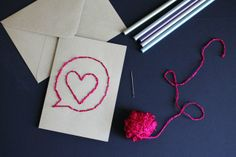 embroidered-card-diy. Definitely will be trying this.