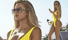 Khloe Kardashian wears daring swimsuit to promote protein shakes