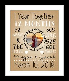 First anniversary gift, together 1 year anniversary gift for boyfriend girlfriend, dating anniversary first met, husband and wife, love by Printsinspired on Etsy www.etsy.com/...