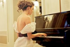 lovely dress + playing the piano
