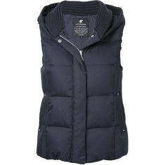Loveless padded gilet (9 200 UAH) ❤ liked on Polyvore featuring outerwear, vests, blue, hooded vests, padded vest, blue vest, sleeveless hooded vest and padding vest