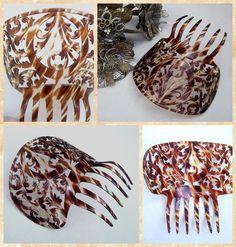 Celluloid faux tortoiseshell vintage hair comb by ElrondsEmporium