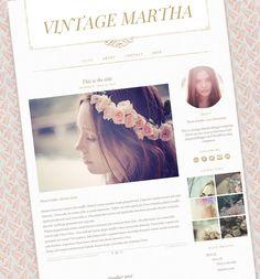 Vintage Blogger Template - Responsive Blog Template - Premade Blogger Theme - Retro Blog Template - Pink and Gold - Vintage Martha