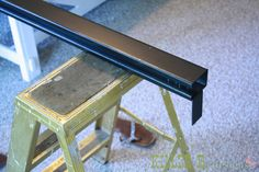 Barn door how-to for pool house closet.  Use 10' trolley rail since our antique doors are so heavy.