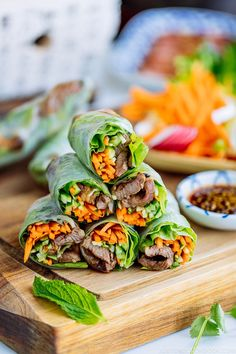 Refreshing and delicious Fresh Spring Rolls with Yakiniku (Japanese BBQ) and julienned vegetables. Dip in homemade Yakiniku Sauce to enjoy! #glutenfree #asianfood #japanesefood #yakiniku #springroll | Easy Japanese Recipes at JustOneCookbook.com