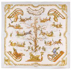 Authentic Hermes Silk Scarf Traineaux Et Glissades Francoise de La Perriere | eBay