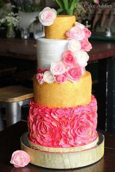 Beautiful bright wedding cake