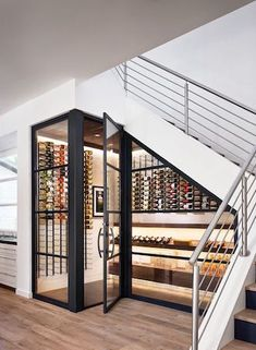 Built-in wine cellar wine storage under the stairs, genius staircase design idea. - Built-in wine cellar wine storage under the stairs, genius staircase design idea! Most staircases ar -