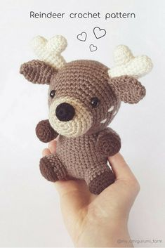 Cute crochet animals, reindeer