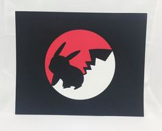 "Pokeball Pokemon Inspired Cut Paper Silhouette Portrait 8"" x 10"" Cut Out Art Portraits"