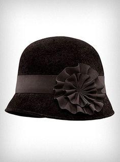 Plasticland - Black Wool 1920's Flapper Cloche Hat