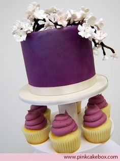 Plum Colored Wedding Cupcake Tower by Pink Cake Box