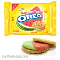$14.99 Watermelon Oreos | Cool People Shop Watermelon Oreos are a perfect summer snack. You can eat them at the beach or at a family barbecue!! Watermelon Oreos limited edition. The delicious watermelon flavor is sure to keep you coming back for more!! Whoever thought of making watermelon flavored cookies is a genius!