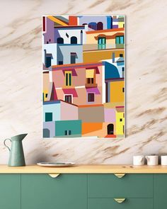 """Positano printable wall art Colorful prints Amalfi Coast poster Architecture art Large wall art Positano Italy printable art Colorful art - Positano printable wall art Colorful prints Amalfi Coast USE THE CODE """"HUNKYDORY"""" TO RECEIVE 30 - Small Canvas Art, Diy Canvas Art, Large Wall Art, Colorful Wall Art, Grand Art Mural, Mural Wall, Bright Art, Wall Art Designs, Printable Wall Art"""