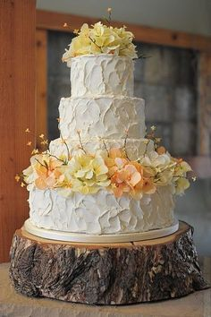Stand Up and Make a Statement with Rustic Wedding Cake Stands for Your Philadelphia Wedding - too many flowers but the tree trunk is cool Yellow Rustic Weddings, Wedding Cake Rustic, Wedding Cakes, Barn Weddings, Yellow Wedding, Indian Weddings, Wedding Colors, Wedding Flowers, Wedding Dresses