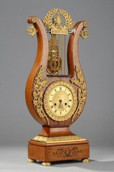 Charles X Lyre-Shaped Mantel Clock