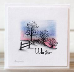 "By Birgit Edblom. Stamp is ""Winter Fenceline"" by Serendipity Stamps."