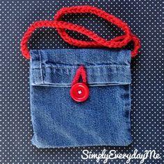 Items similar to Up-cycle Blue Jean Mini Purse With Crochet Strap Button Accent - Blue Jean/RedButton on Etsy, Jean Crafts, Denim Crafts, Blue Jeans, Blue Jean Purses, Diy Sac, Denim Handbags, Diy Jeans, Denim Purse, Denim Ideas