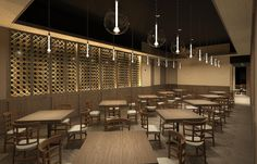 A rendering of the dining area in Pizza Brandi's new location in Portchester, N.Y.  Renderings and design created by Studio Grella.