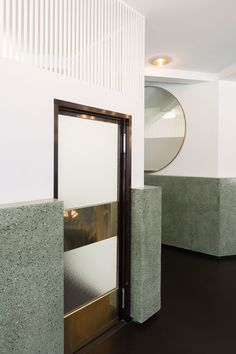 gray green terrazzo | 'Victor' Café at Fine Arts Centre in Brussels by Robbrecht and Daem