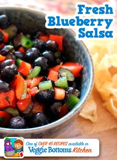 Fresh Blueberry Salsa is one of over 45 kid-friendly, vegetarian recipes included in Veggie Bottoms Kitchen – The top-rated cookbook app for kids!