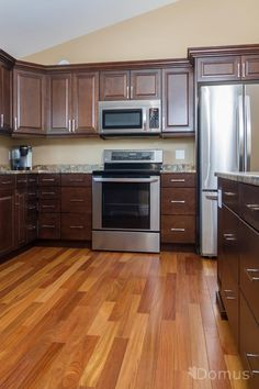 Kitchen ideas with hardwood floors dark wood floor kitchen i Wood Floor Kitchen, Kitchen Flooring, Kitchen Cabinets, Dark Wood Floors, Hardwood Floor, Diy And Crafts Sewing, Teak, Kitchen Remodel, Home Improvement