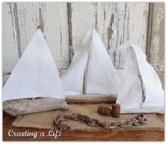 Make adorable driftwood sailboats... these are so cool! Love the different sails. By Creating A Life featured on I Love That Junk, a blog that features your amazing JUNK!