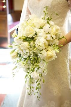 Modern cascading wedding #bouquet by Birmingham florist-- #flowerbuds. #ArdenPhotography