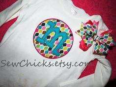 Circle Initial Double Applique SHIRT by SewChicks on Etsy, $16.50