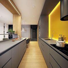 Modern Kitchen designed by Plasterlina #design #designer #instahome #instadesign #architect #home #homedesign #art #architecture #interiordesign #exterior #interior #lighting #decoration #decor #follow #luxury #luxuryhome #instaarchitecture #kitchen #yellow