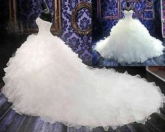 New Bride White/Ivory Wedding Dress A-Line Organza Bridal Gown Custom Size Plus Size Wedding Gowns, Wedding Dress Sizes, Wedding Dress Sleeves, Bridal Wedding Dresses, Ivory Wedding, Modest Wedding, Tulle Wedding, Wedding Ring, Bridesmaid Dresses