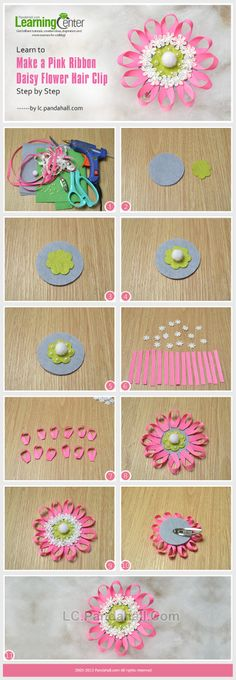 Learn to Make a Pink Ribbon Daisy Flower Hair Clip Step by Step