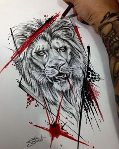 Trashpolka Lion - exclusive creation by - love tattoos Tattoos Masculinas, Body Art Tattoos, Tattoos For Guys, Sleeve Tattoos, Tattos, Tattoo Sketches, Tattoo Drawings, Tatuagem Trash Polka, Trash Polka Art