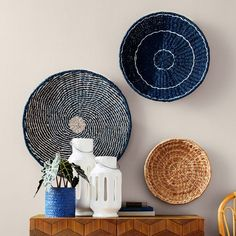 3 Spring Décor Trends We Spotted in Target's Latest Home Catalog Rattan, Home Catalogue, Baskets On Wall, Wall Basket, Basket Decoration, Spring Home, Plates On Wall, Plate Wall, Blue Walls