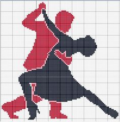 Tango dancers silhouette X-stitch pattern Cross Stitch Music, Wedding Cross Stitch, Cross Stitch Heart, Cross Stitching, Cross Stitch Embroidery, Cross Stitch Patterns, Cross Stitch Silhouette, Graph Paper Art, Tapestry Crochet