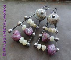 Abacus metalwork beaded earrings by DiPiazzaMetalworks on Etsy