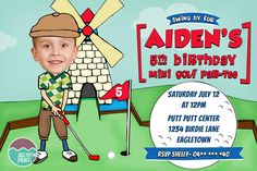 Customised Golf Party Invitation for a boy or girls Mini Putt Putt birthday party celebration. Birthday Party Celebration, Birthday Party Invitations, Baby Shower Invitations, Golf Party Favors, Golf Invitation, Daddy Birthday, Golf Theme, Putt Putt, Jellyfish